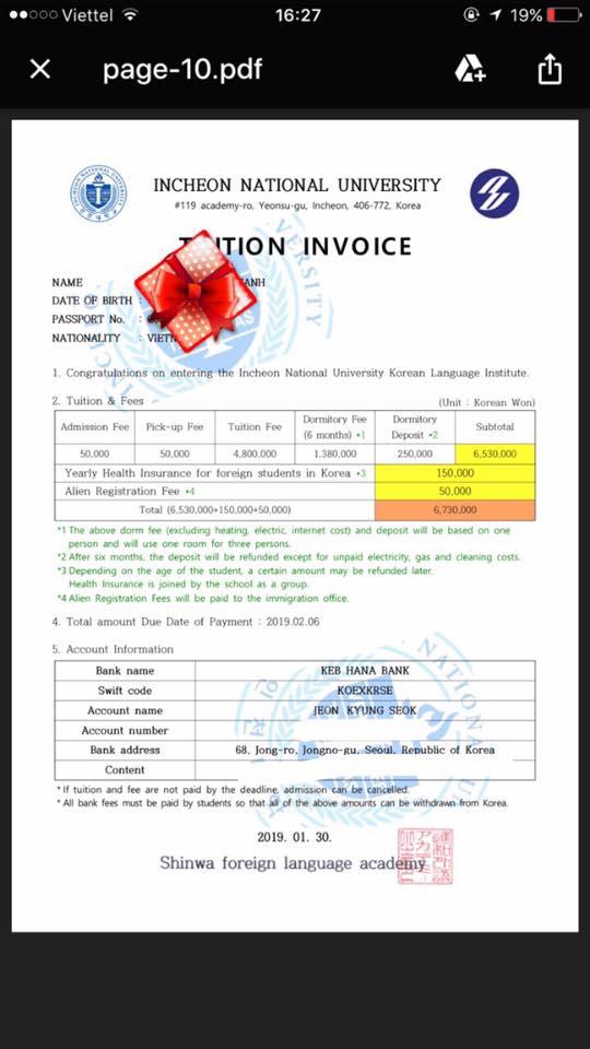 Invoice trường Đại học Quốc gia Incheon