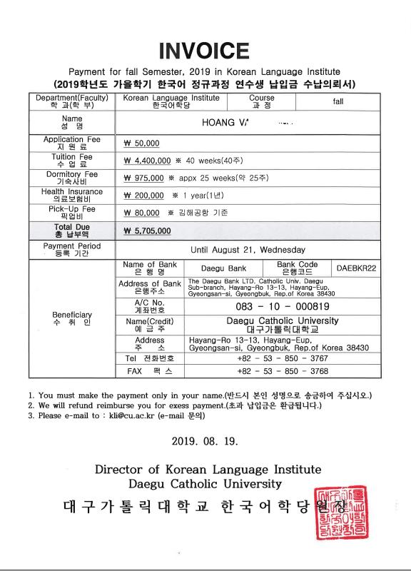 Invoice trường Daegu Catholic Bạn Hoàng Văn Vương