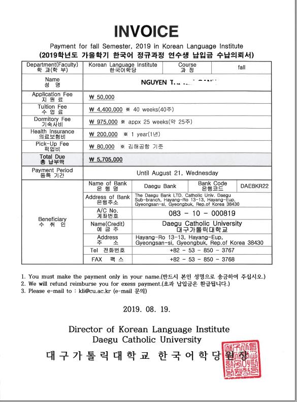 Invoice trường Daegu Catholic của bạn Nguyễn Thị Kim Oanh
